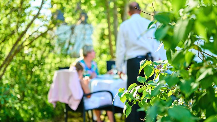 matgäster i trädgård